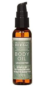 Unscented Body Oil, Massage Oil, Body Oil for Dry Skin, Fragrance Free Body Moisturizer, Vegan Body Oil, Paraben Free Body Oil, Ora's Amazing Herbal