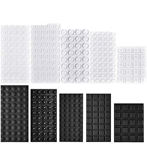 ManYee 404 Pack Adhesive Rubber Feet Bumper Pads Self Stick Noise Dampening Cabinet Door Bumpers for Picture Frames Furniture Drawers Cupboards,Clear and Black,10 Sizes by ManYee