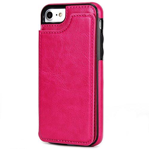 SRY-Bolsa para teléfono móvil La parte posterior puede ser plana con una ranura magnética de la tarjeta de la hebilla doble, caja del teléfono de la contraportada para IPhone 5 y 5s y SE ( Color : Ros Rose