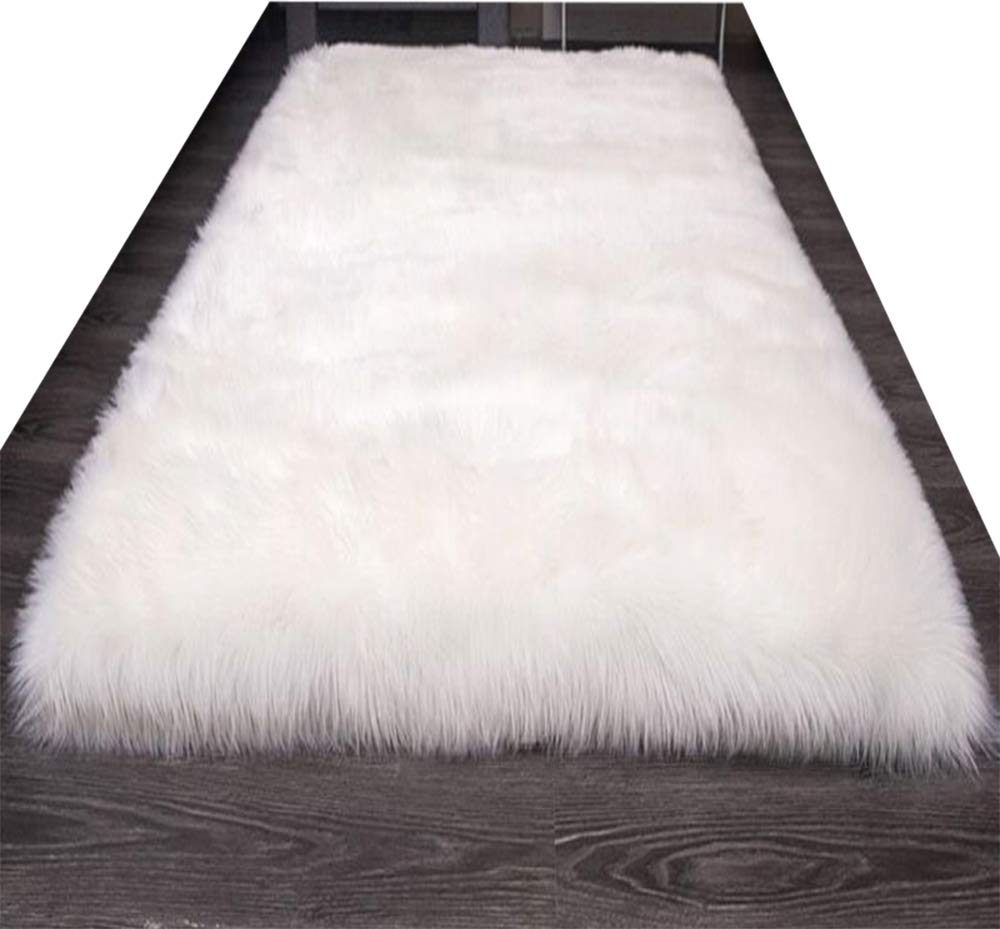 HUAHOO Faux Fur Sheepskin Rug White Kids Carpet Soft Faux Sheepskin Chair Cover Home Décor Accent for a Kid's Room,Childrens Bedroom, Nursery, Living Room or Bath. 8' x 10' Rectangle