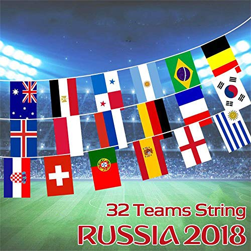 (SZZWY Extra Large Size FIFA 2018 World Cup Russia Soccer Football Flag - 28 feet - Bunting String Banner Flags for Party Bar Club Celebration 32 Team Nation Countries (8.5 x 5.5 inches Each Flag))