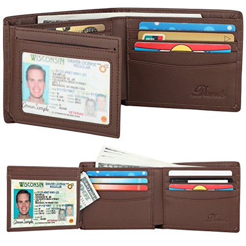 RFID Blocking Cowhide Leather Wallet for Men with 2 ID Windows(Chocolate)