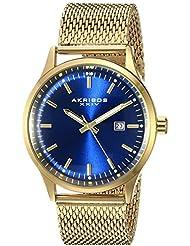 Akribos XXIV Mens AK901RGBU Blue Dial Gold-Tone Quartz Stainles Steel Mesh Bracelet Watch