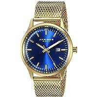 Akribos XXIV Men's AK901RGBU Blue Dial Gold-Tone Quartz Stainles Steel Mesh Bracelet Watch