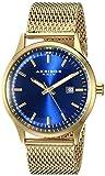 Akribos XXIV Men's AK901YGBU Round Blue Radiant Sunburst Dial Three Hand Quartz Movement Bracelet Watch
