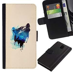 All Phone Most Case / Oferta Especial Cáscara Funda de cuero Monedero Cubierta de proteccion Caso / Wallet Case for Samsung Galaxy Note 3 III // Mountain & Wolf Howl