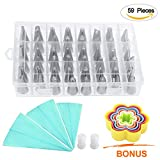 Cake Decorating Tips Supplies Kit EZYKOO 59 Pieces Stainless Steel Icing Tip ...