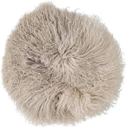 Bloomingville Dip Dyed Stone Off White Round Tibetan Lamb Fur Pillow