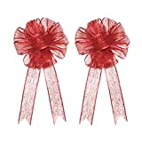 YJBear 2 PCS Glitter Red Mesh Christmas Tree Bowknot Ornament Wedding Birthday Party Favors Festive Holiday Hanging Decor Grid Bow for Home Christmas Decoration