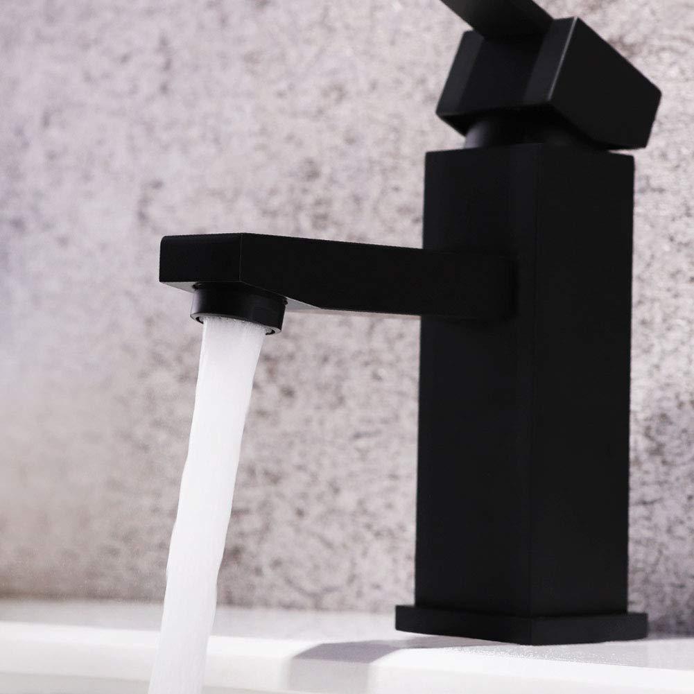 浴室の蛇口バニティシンクの蛇口すべての銅シングル家庭洗面器のシンクホットとコールドウォーターの蛇口マットブラックシングルホールミックスウェイト B07K1DSZS9
