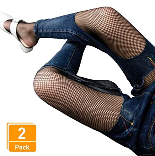 DancMolly Fishnet Stockings Pantyhose Women's 2 Pair High Waist Hollow Mesh Tights Legging Hosiery (Black/Small Hole,2 Pair, One Size)