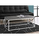 Monarch Specialties I 3225 Grey with Chrome Metal Coffee Table