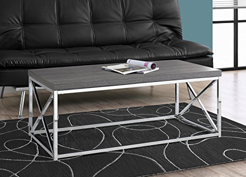 Monarch Specialties I 3225, Cocktail Table, Chrome Metal, (Cross Contemporary Coffee Table)