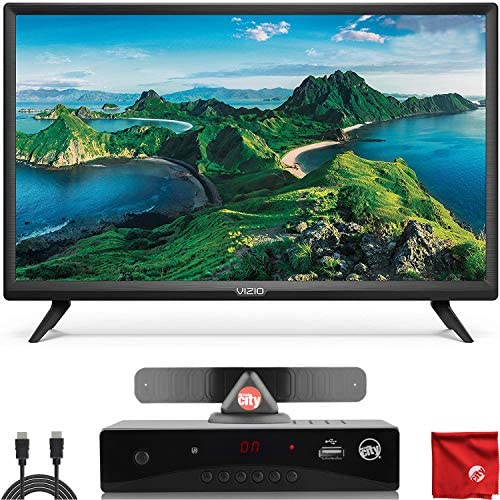VIZIO D-Series 24-Inch Class 1080p Full HD LED Smart TV (D24F-G1) with Built-in HDMI, USB, SmartSolid, Voice Control Bundle with Circuit City ATSC HD Digital Converter Box and Accessories