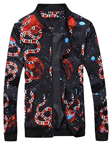 LD Mens Fashion Stand Collar Zip Up Snake Print Slim Fit Lightweight Jackets Black M