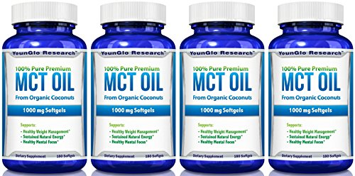 MCT Oil Capsules 100% from Organic Coconuts - 1000 mg 180 Softgels - Great Pills for Energy and Weight Management (4 Pack) by YounGlo Research
