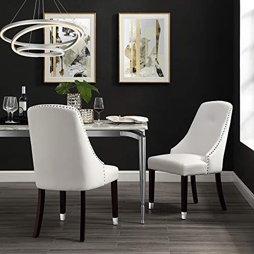 InspiredHome White Leather Dining Chair - Design: Aria | Set of 2 | Chrome Tip Leg | Single Tuft | Nailhead Trim ()