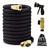 AMJ 25ft Expandable Garden Hose - Upgraded Water Hose with 3/4 Solid Brass
