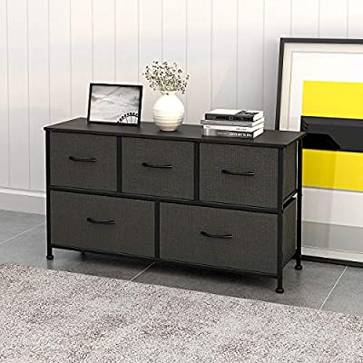 WLIVE Dresser with 5 Drawers, Fabric Storage Tower, Organizer Unit with Sturdy Steel Frame, Wood Top, Easy Pull Handle