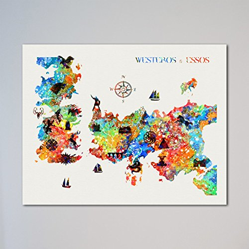 Game Of Thrones Locations Map Westeros   Essos Houses 11 X 14 Inches Print
