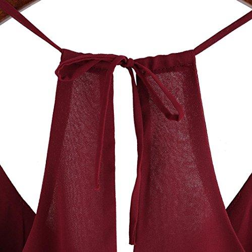 soie shirt Rouge de Dbardeurs CHAUD Chemisier Sexy Mousseline Kingwo T Spaghetti Strap Gilet RnPqY