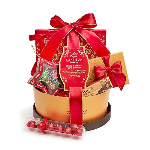 Godiva Chocolatier Make It Merry Christmas Gift Basket with 5 Holiday Chocolate Treats, Assorted