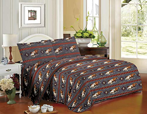 Rugs 4 Less Equestrian Rustic Southwestern Native American Western Cowboy Sheet Set with Running Mustangs and Tribal Patterns - Horse Stampede Grey Queen Sheet