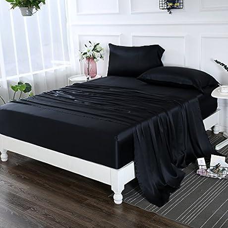 ZIMASILK 4 Pcs 100 Mulberry Silk Bed Sheet Set All Side 19 Momme Silk Queen Black