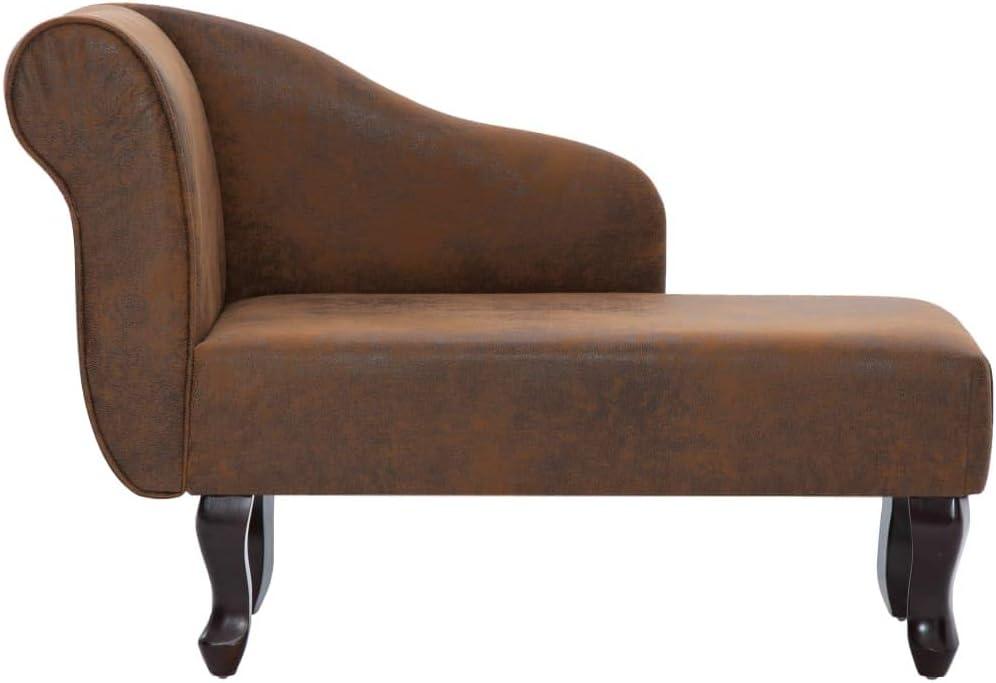 vidaXL Chaiselongue Recamiere Couch Sofa Sessel Chaise Relaxliege Loungesofa Liege Schlafsofa Liegesessel Schlafcouch Bettsofa Wildleder-Optik Braun