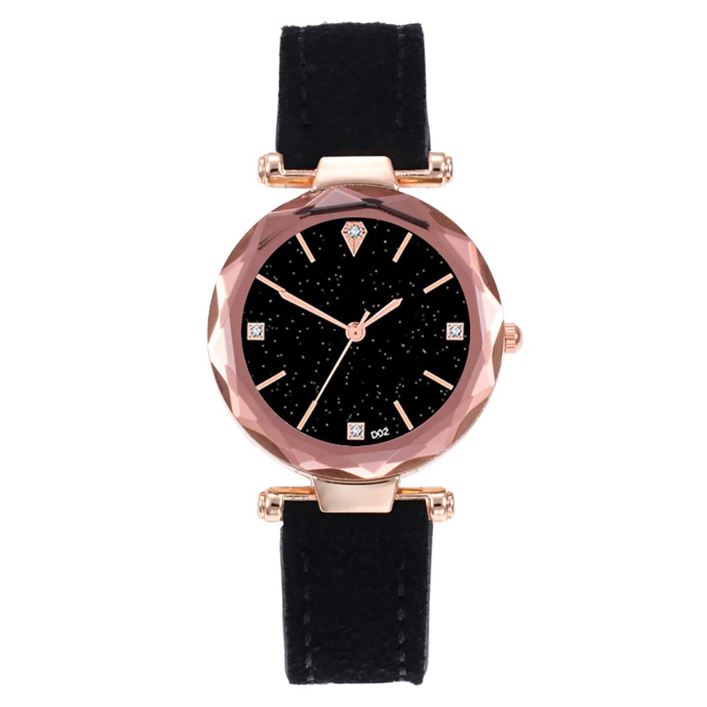 Girl's Women's Watch, Iuhan Fashion Women Leather Casual Watch Luxury Analog Quartz Starry Sky Wristwatch (Black)