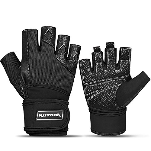 Kutook Men Weight Lifting Gloves Fit Workout Gloves Gym Hand Gloves Black Medium