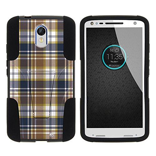 MINITURTLE Case Compatible w/Droid Turbo 2, Silicone Gel and PC Strike Impact Stand Case w/Dazzling Designs for Motorola Kinzie XT1585 Blue Brown Checker Plaid ()