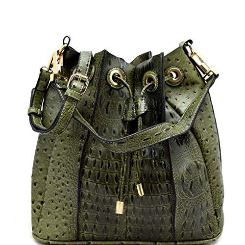 Crossbody Ostrich Handbag Bag Olive Republic w Pleated Embossed Hobo Inner xawq8ZqRn7