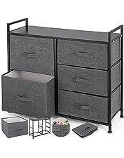Happybuy 5-Drawer Storage Organizer Unit with Fabric Bins Bedroom Play Room Entryway Hallway Closets
