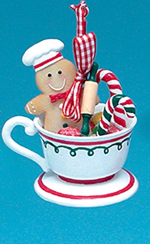 Kurt Adler Gingerbread Kisses Cookie Boy with Candy Canes Coffee Cup Christmas Ornament