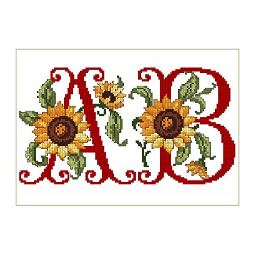 ABC Machine Embroidery Designs Set - Sunflowers Alphabet Cross-Stitch Machine Embroidery 62 Designs - Uppercase Letters in Three Sizes - 5