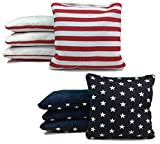 Tailgating Pros Stars & Stripes Pro-Style Cornhole Bags Two-sided Slick & Stick Resin-filled Suede and Duck Canvas Set of 8