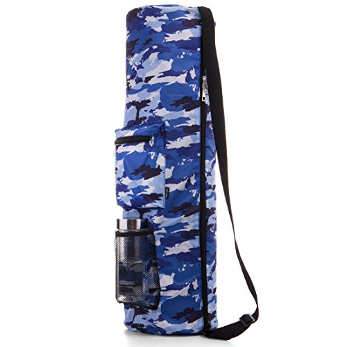 RoryTory Yoga Mat Bag w/ Adjustable Strap, Water Bottle Carrier, Inner & Outer Pockets, Heavy Duty & Machine Washable - Fits Most Yoga Mat Sizes (Blue - Fabric Blue Camouflage