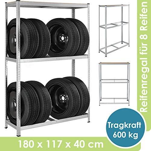 Juskys Metall Reifenregal Drive | 8 Reifen | 180 x 117 x 40 cm | 1 Boden aus MDF Holz max. 200 kg | Reifenständer Werkstattregal Lagerregal