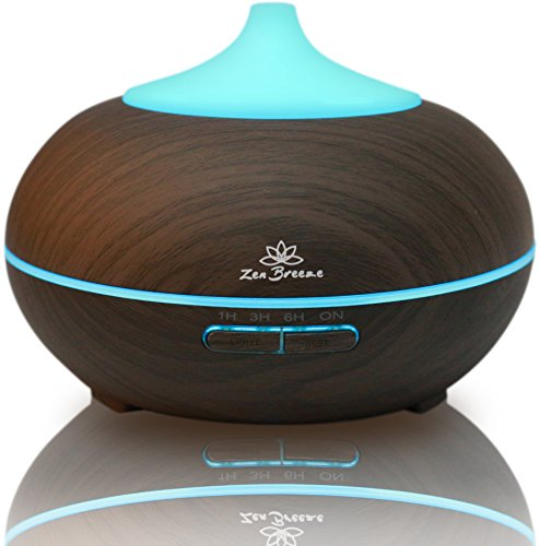 Essential Oil Diffuser Dark Wood - Aromatherapy Diffuser - Birthday Gift Edition - by Zen Breeze (Diffuser Oil Warming)