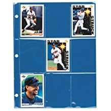 """Gemex Archival Safe Polypropylene Trading Cards Page Holder for 9 Cards 2-1/2 x 3-1/2"""" 10 per Pack, Clear"""