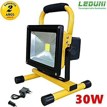 Foco LED Reflector, Foco Proyector Lámpara Camping 30W Recargable ...