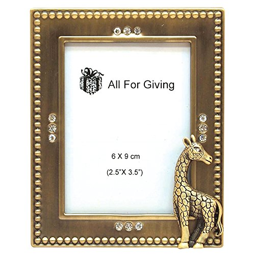 Brass Giraffe - All For Giving Giraffe Picture Frame, 2.5 by 3.5-Inch, Brass