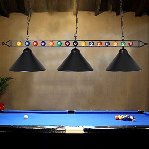 Chende 59'' Hanging Pool Table Light Fixture for Game Room Beer Party, Ball Design Metal Billiards Light with 3 Lamp Shades , Suitable for 7' or 8' Tables (Black)