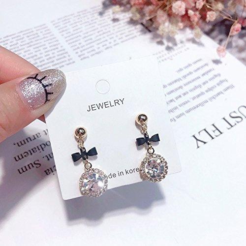 (High-Season MENGJIQIAO 2018 Korean New Round Crystal Pendant Drop Earrings For Women Fashion Sweet Bowknot Brincos Cute Gift (Black) )