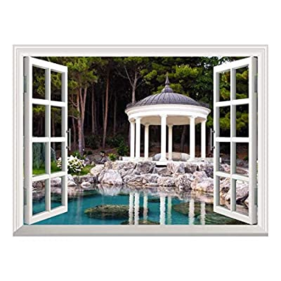 Removable Wall Sticker/Wall Mural - Gazebo by The Pond in a Beautiful Green Park | Creative Window View Home Decor/Wall Decor - 36