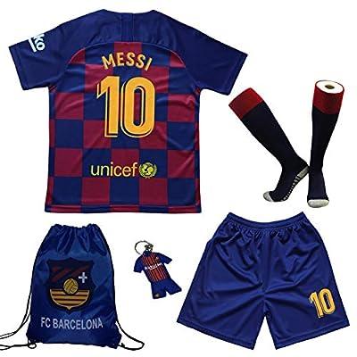 BIRDBOX Youth Sportswear Barcelona Leo Messi 10 Kids Home Soccer Jersey/Shorts Bag Keychain Football Socks Set (Home (New), 7-8 Years.)