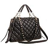 MIZU Black Trendy Diamond Quilted Versatile Studded Straps Office Tote Hobo Top Double Handle Satchel Handbag Purse Shoulder Bag by MyGift, Bags Central
