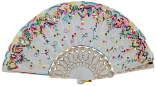 "Just Artifacts 9"" White w/ Decorative Sequin Embroidery Folding Silk Hand Fans (Set of 5, Rainbow) by Just Artifacts"