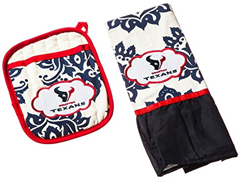 NFL Houston Texans Logo Pot Holder and Kitchen Towel Set, Small, Multicolored